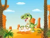 Fotografie Cartoon mom tyrannosaurus dinosaur and baby dinosaurs hatching