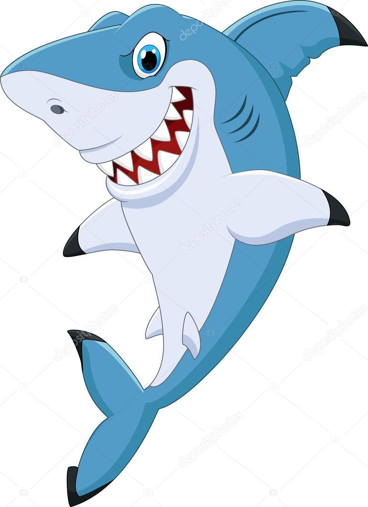 Tecknade roliga haj poserar — stock vektor tigatelu