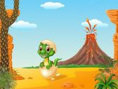 Cartoon funny baby tyrannosaurus hatching with prehistoric background