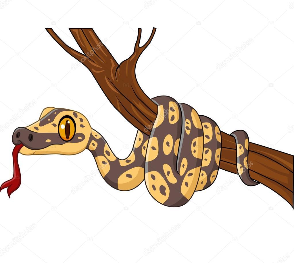 Dessin Animé Serpent serpent de dessin animé sur une branche d'arbre — image vectorielle