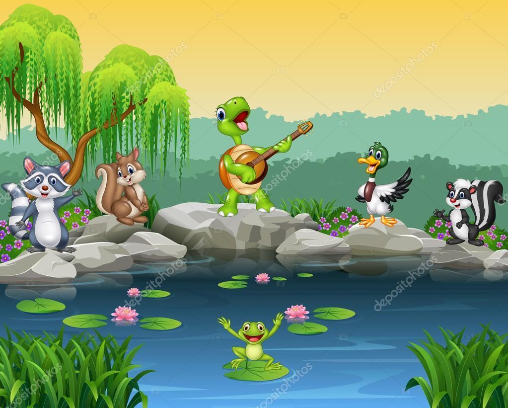 Dibujos Animados Animales Felices Cantando Colección