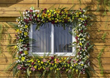 Decorated window with flowers