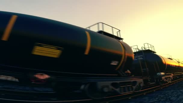 cisternové vozy při západu slunce