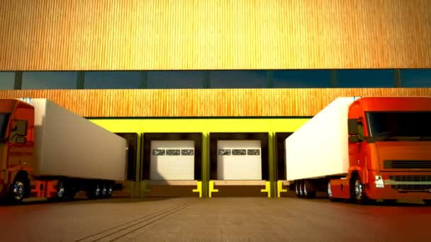 3D animace vykládání nákladu od kamionu do skladu