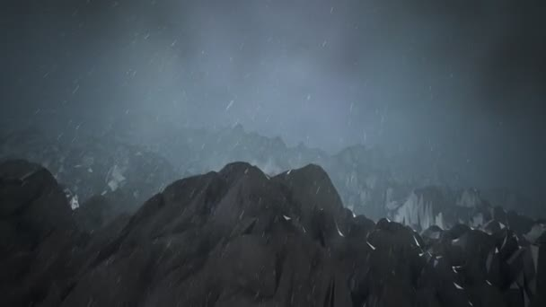 mountains during blizzard with streaks of lightening.