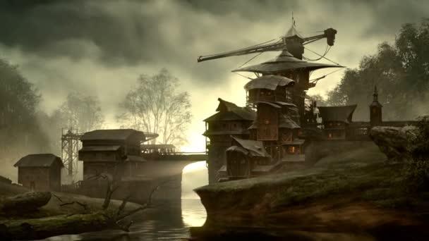 Fantasy building over flowing creek.
