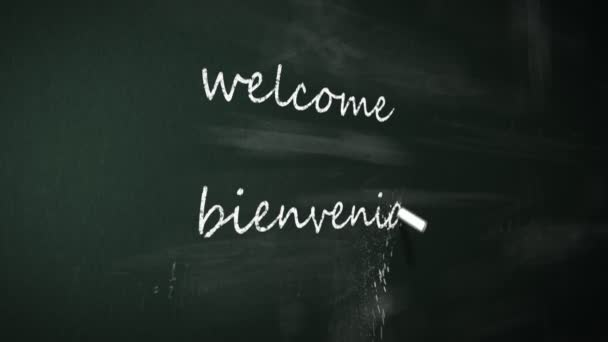 Chalk drawing Welcome in nine different languages on blackboard