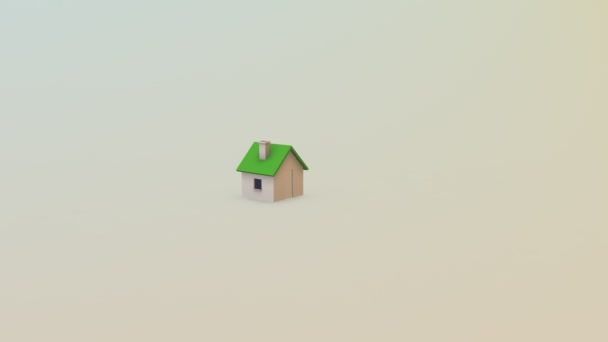 Animated sold word green roof house white background