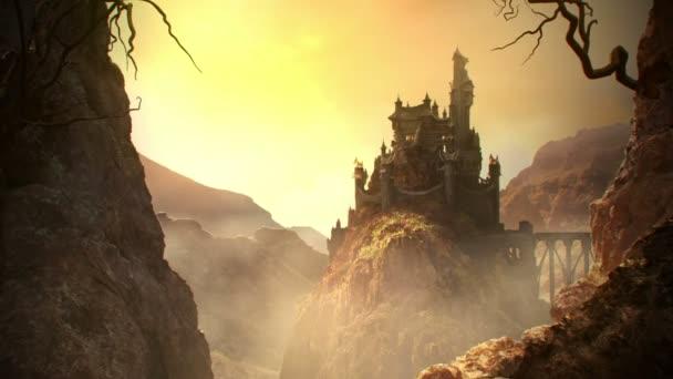 Fantasy hrad stojící na kopci