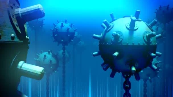 Underwater sea mines — Stock Video © 3dmentat #78407206