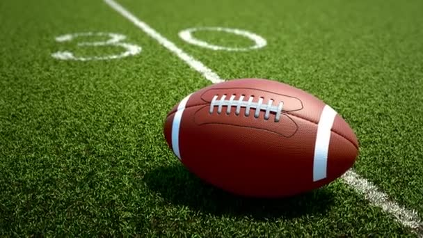 Animation of ball lying on the 30 yd line.