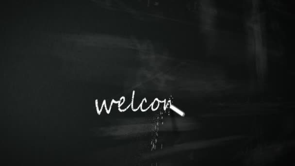Chalk drawing Welcome in nine different languages