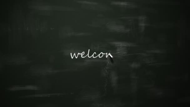 Welcome in six different languages on blackboard