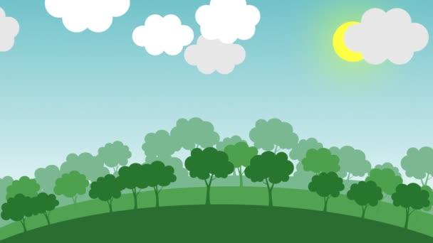 Přechod od zeleného lesa na znečištěné město