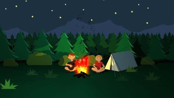 Táborák děti pražení hole s Marshmallows
