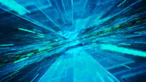 Pohyb přes abstraktní modré čtverečky