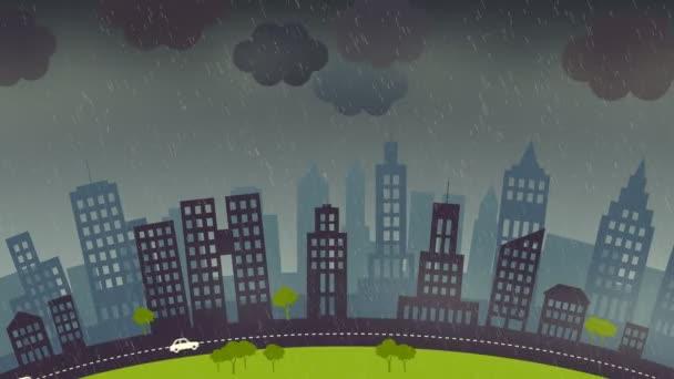 město s skycrapers v bouřlivé noci