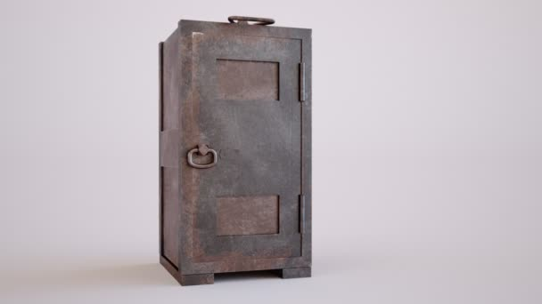 Old rusty steel safe.
