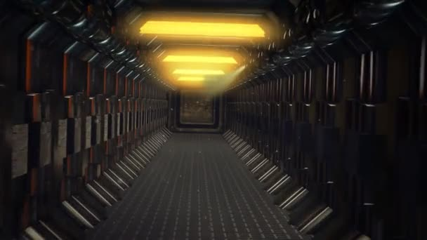 Long straight spacecraft corridor with no windows
