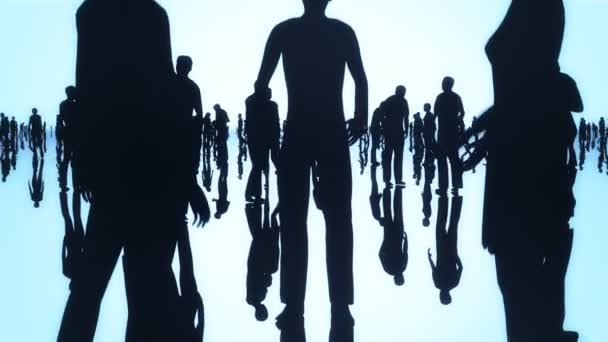 Silhouettes of a crowd of people