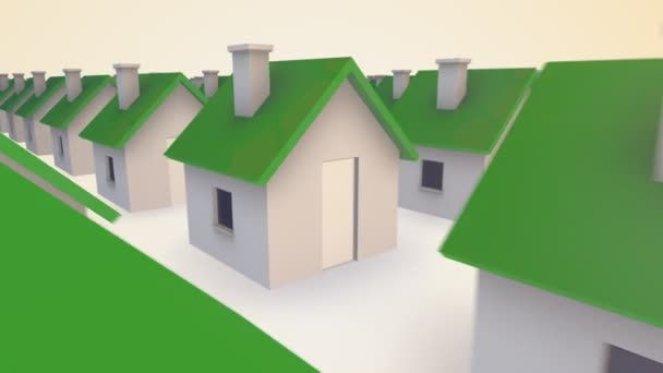 tiny houses with green tops