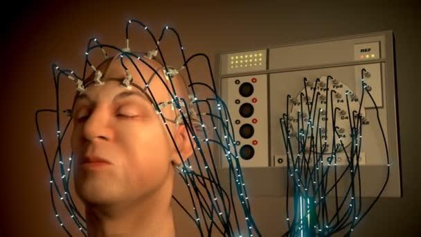 Muž, napojená na Eeg stroje nebo elektroencefalografu
