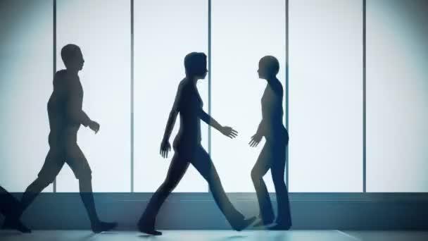 people walking in bright spacious lobby