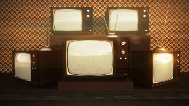 Old Retro Color Tv Sets With Antenna