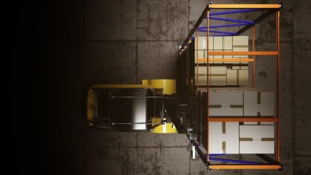 Vysokozdvižné vozíky uvedení stoh krabic na polici