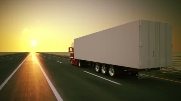 Velký kamion se pohybuje na silnici