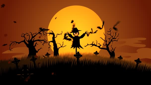 Ijesztő Halloween madárijesztő temetőben