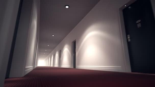 Long Bright Corridor With Flash Lights And Door