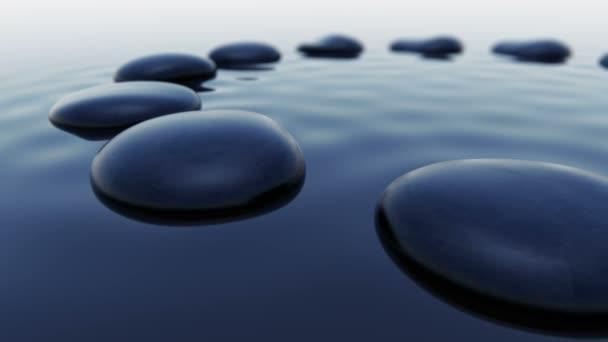black pebbles inside water