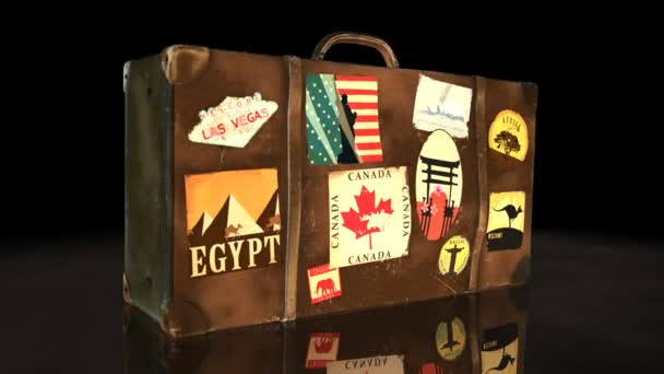 Suitcase With Worlds Famous Travel Destination Labels