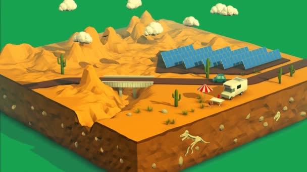Most v pouštní krajině se solárními panely