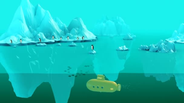 Whale Eating Penguin With Submarine Patrolling Behind