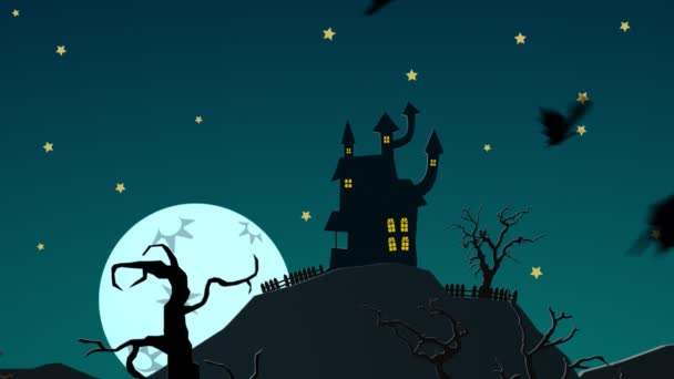 Strašidelný Halloween strašidelný dům na kopci s měsíc tajemství zámek duchů