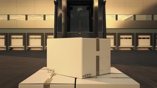 Vysokozdvižný vozík načítání stoh krabic v dodávkou