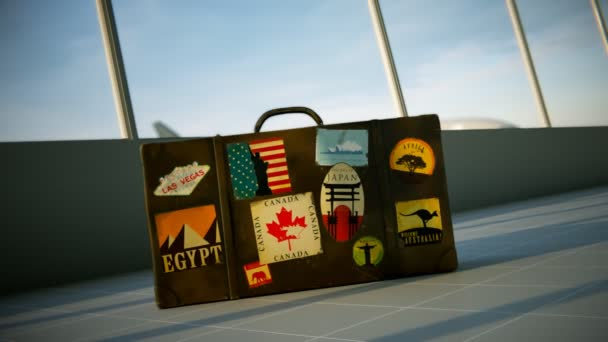 Valigia con etichette di destinazioni di viaggio
