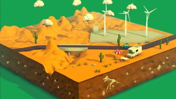 Wüste Landschaft mit Windrädern im Hintergrund