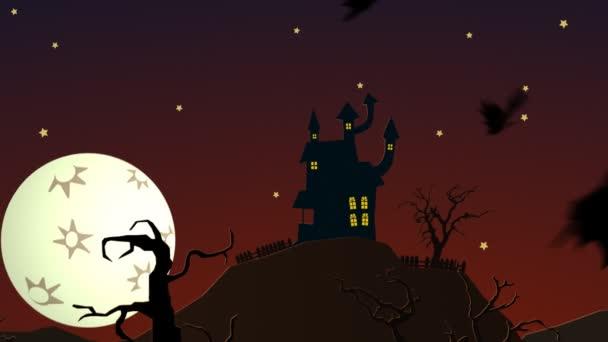 Spooky Halloween Haunted House sulla collina con luna mistero mansion di fantasmi
