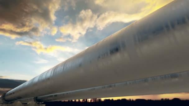 Pipeline transportation at sunset