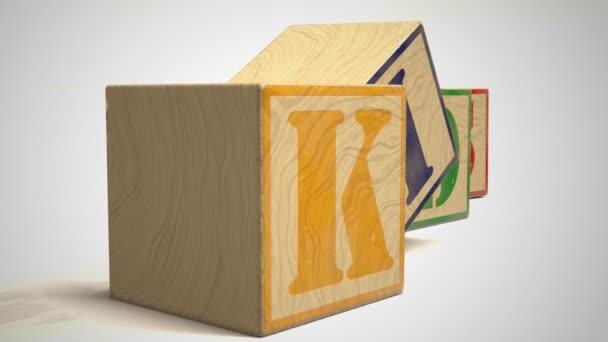 Word Kids On Wooden Blocks
