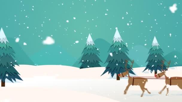 Jízda na saních s sobů Santa Claus