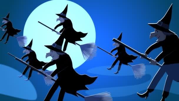 Halloween čarodějnice létající na košťata