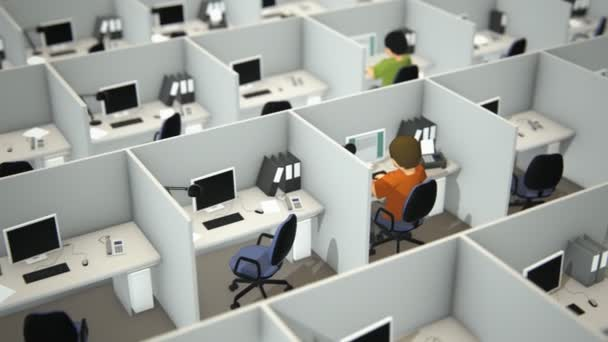 Working Employees In Cubicles