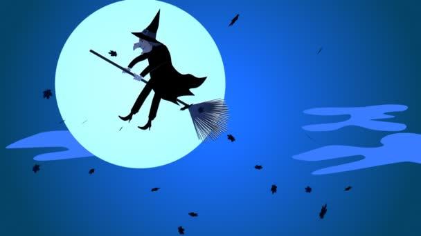 Halloween čarodějnice létající na koštěti