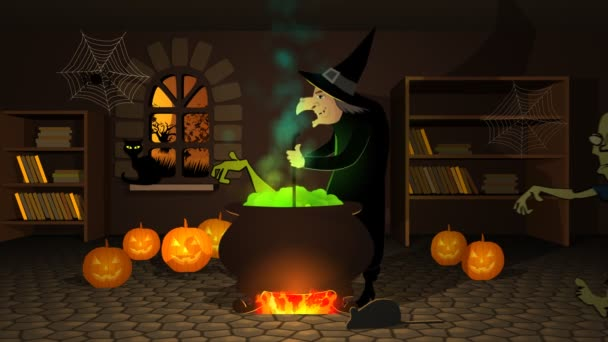Witch Preparing A Potion In Cauldron