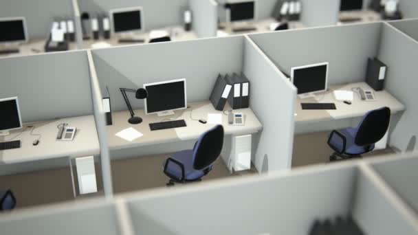 Cubicles With Chairs And Computers