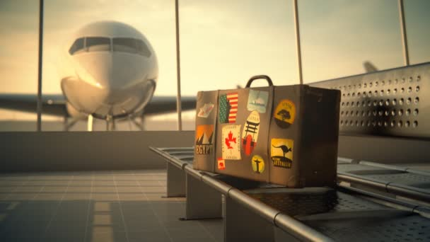 Suitcase With Worlds Famous Travel Destinations Labels